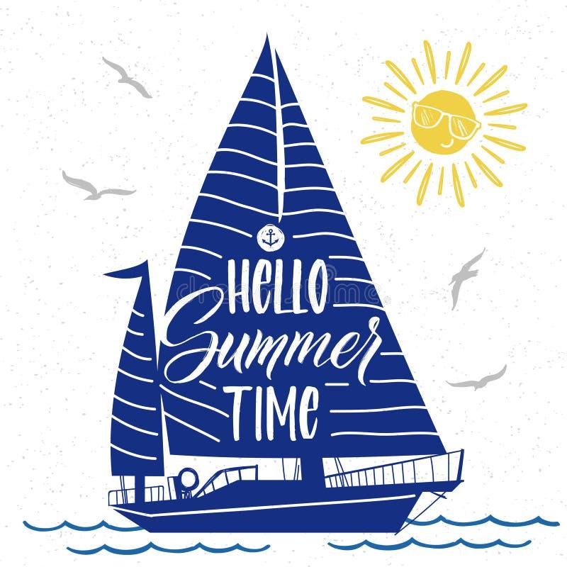 Affiche mignonne d'été de vecteur avec la silhouette, le soleil, les oiseaux et l'inscription de bateau de l'heure d'été de bonjo illustration de vecteur