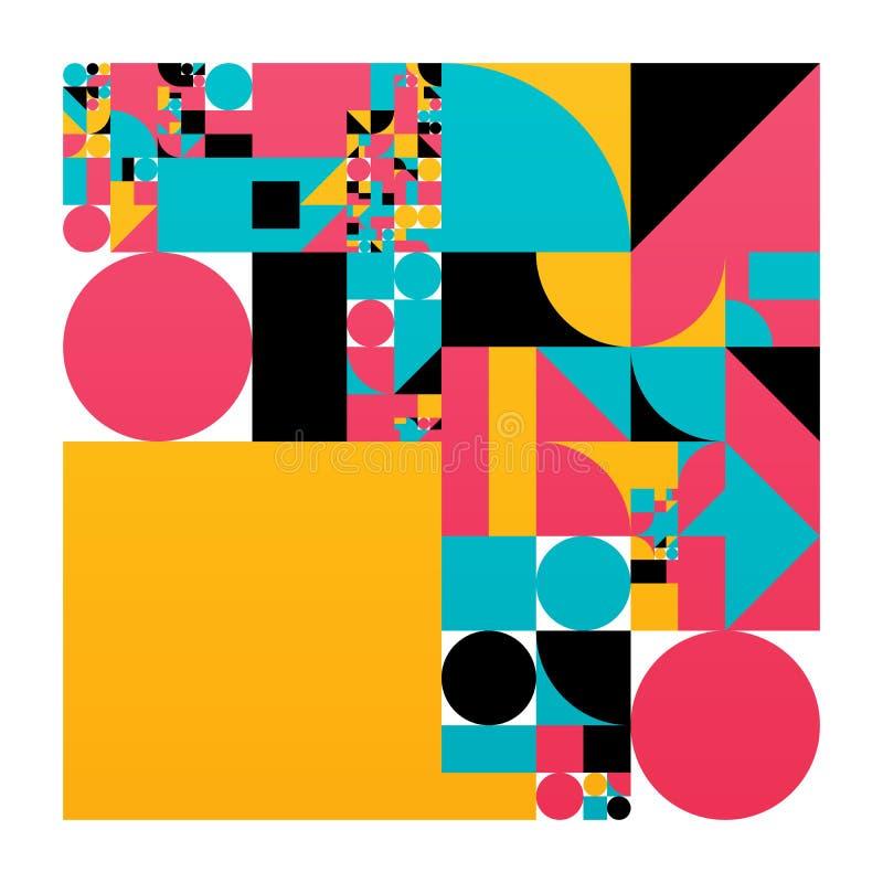 Affiche minimalistic de vecteur avec des formes simples Géométrique procédural Disposition suisse d'abrégé sur style Génératif co illustration libre de droits