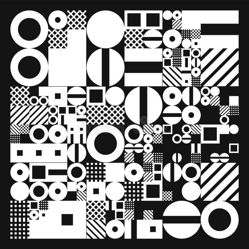 Affiche minimalistic de vecteur avec des formes simples Géométrique procédural Disposition suisse d'abrégé sur style Génératif co illustration de vecteur