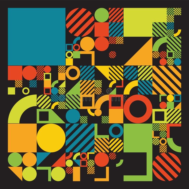 Affiche minimalistic de vecteur avec des formes simples Géométrique procédural Disposition suisse d'abrégé sur style Génératif co illustration stock