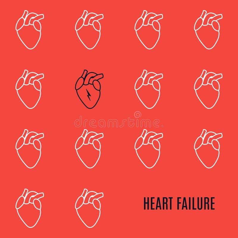 Affiche modelée par icône d'arrêt du coeur sur le rouge illustration stock