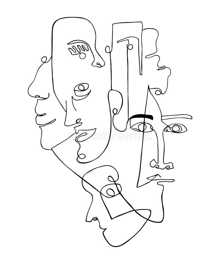 Affiche moderne avec les visages abstraits linéaires illustration de vecteur