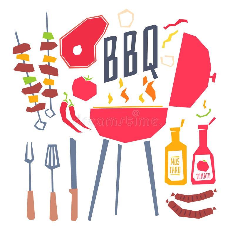 Affiche moderne avec un gril de barbecue, un barbecue, des légumes et des couverts illustration libre de droits