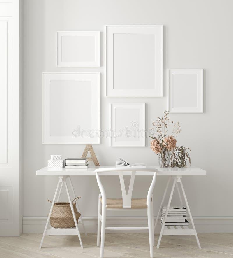 Affiche, moquerie de mur à l'arrière-plan intérieur à la maison, siège social, style scandinave illustration libre de droits