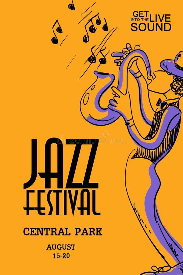 Affiche musicale avec le joueur de saxophone illustration libre de droits