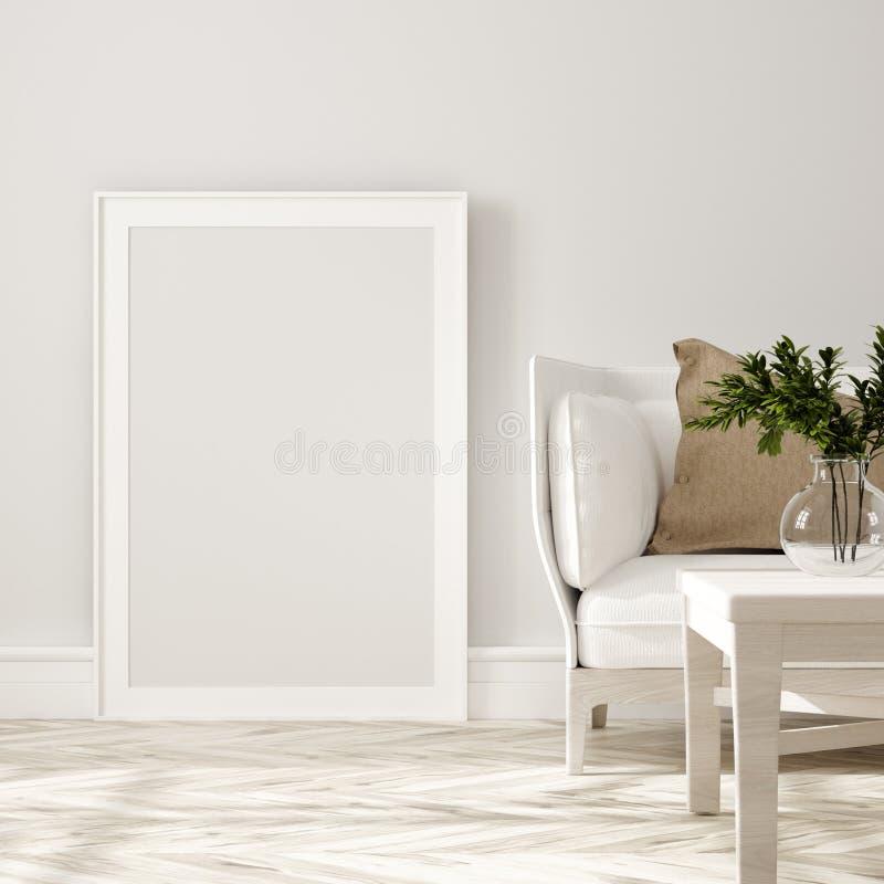 Affiche, muurmodel in beige binnenland met witte bank, houten lijst en installaties, Skandinavische stijl vector illustratie