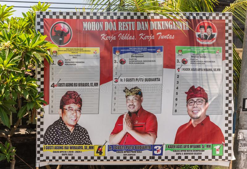 Affiche Nationale Verkiezing 2019 in Denpasar, Bali Indonesië stock foto