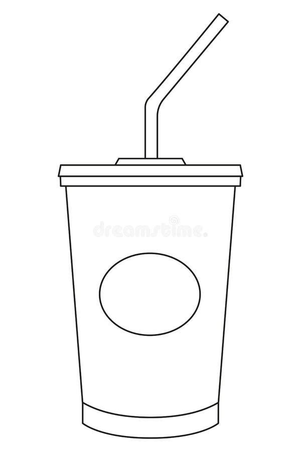 Affiche noire et blanche d'icône d'aliments de préparation rapide de milkshake de kola de soude illustration stock