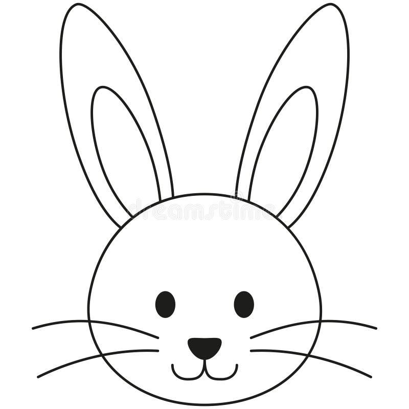 Affiche noire et blanche d'icône de visage de lapin de lapin de schéma photographie stock
