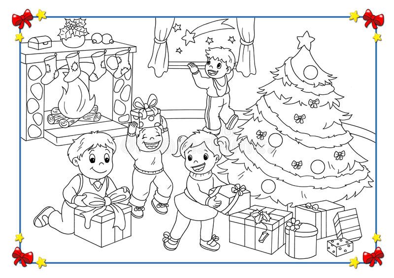 Affiche noire et blanche de Noël illustration de vecteur