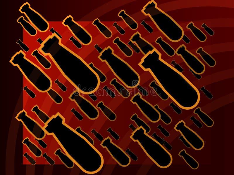 Affiche nucléaire rougeoyante rouge de panne de fond illustration de vecteur