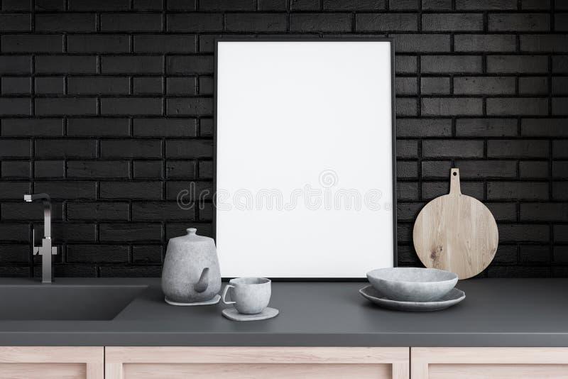 Affiche op keukencountertop, zwarte bakstenen muur stock illustratie