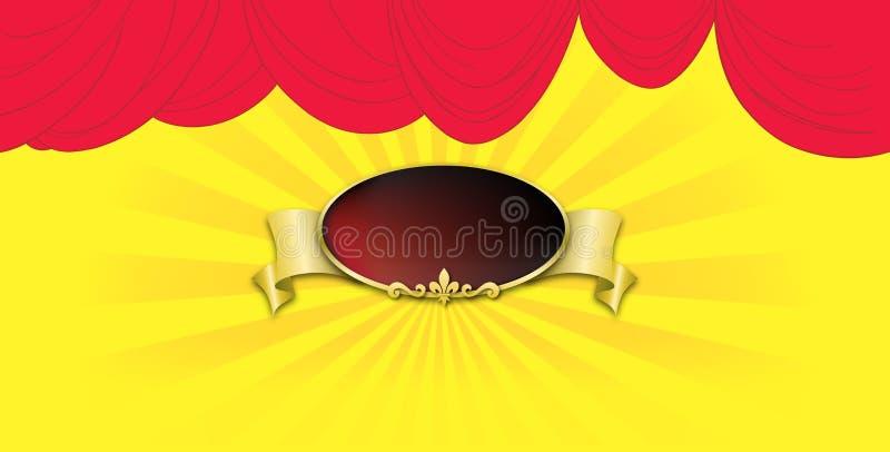 Affiche op rood gordijn als achtergrond royalty-vrije illustratie