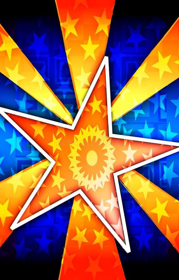 Affiche orange d'éclat d'étoile illustration de vecteur