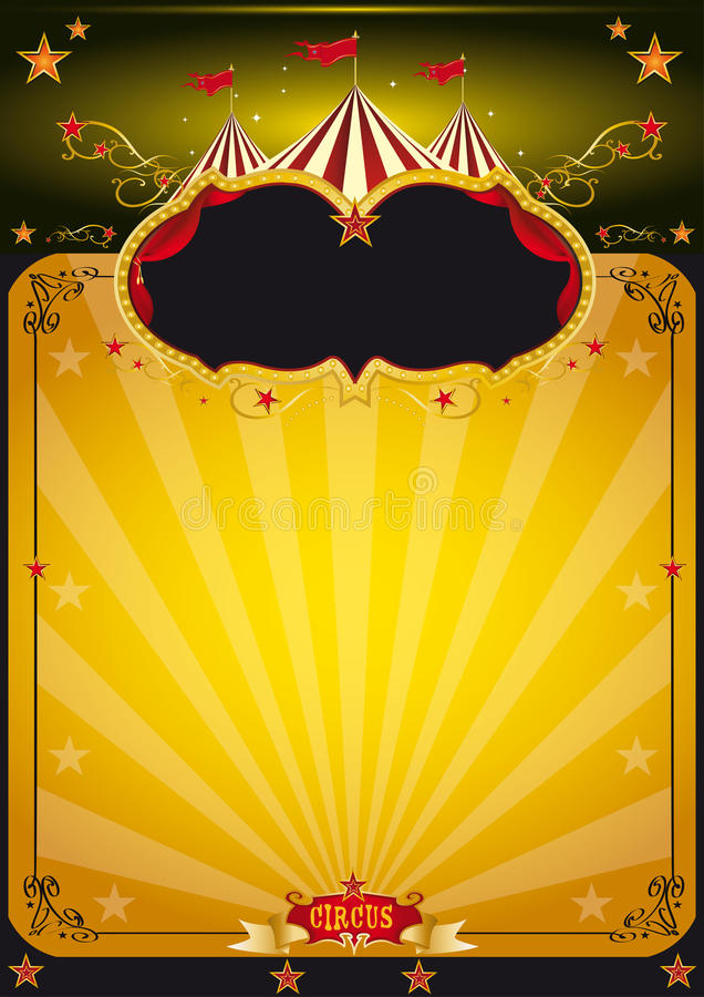 Affiche orange magique de cirque. illustration stock