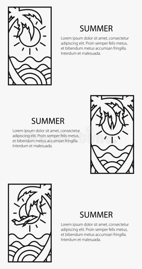 Affiche orientée d'été, bannière de vacances illustration stock