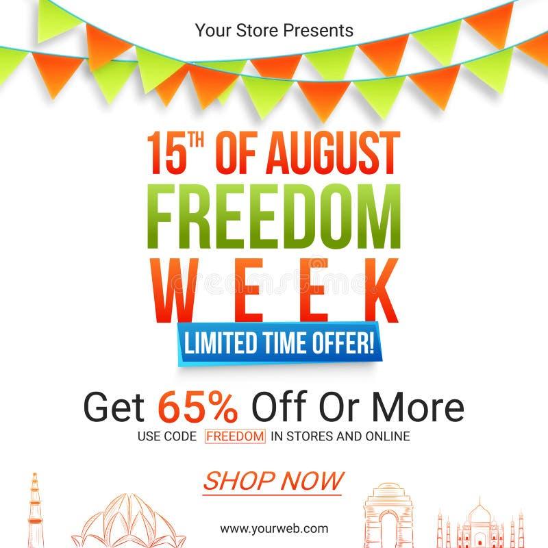 Affiche ou bannière de vente pour le Jour de la Déclaration d'Indépendance indien illustration stock