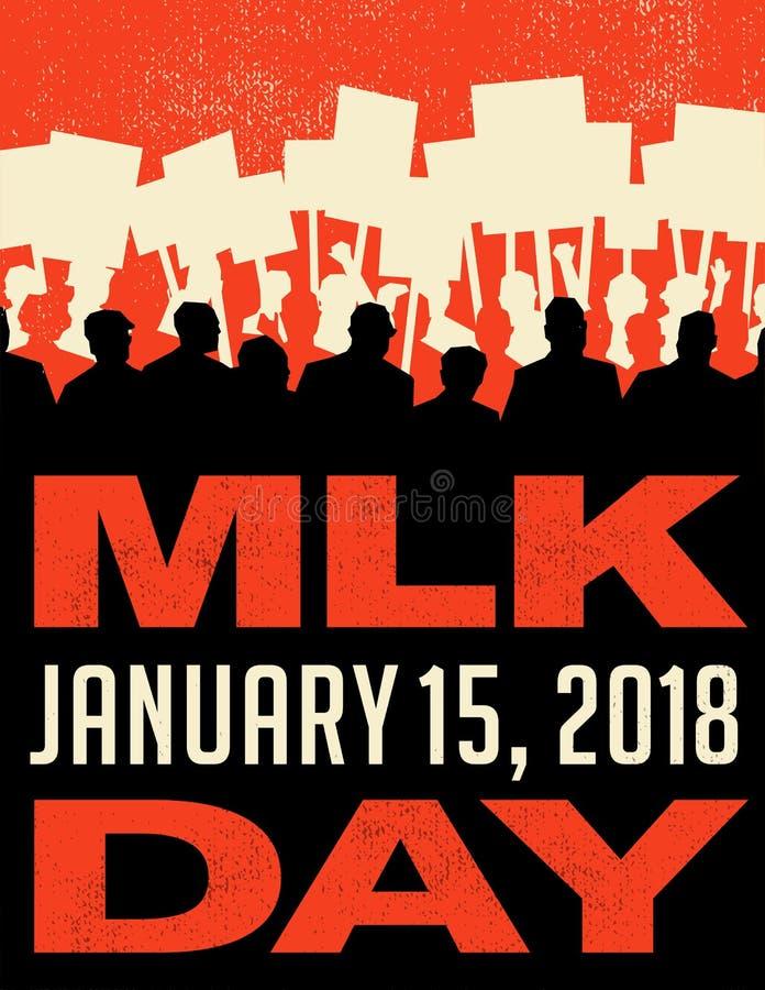 Affiche ou bannière pour Martin Luther King Day Rassemblement de protestation illustration stock