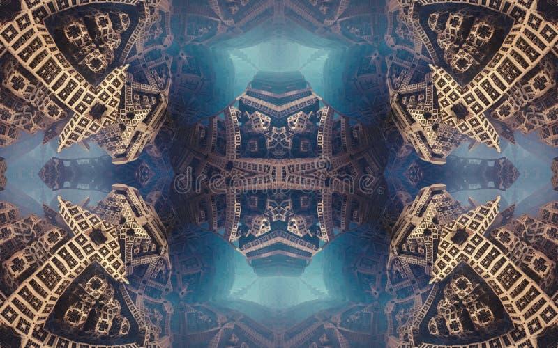 Affiche ou fond fantastique abstraite épique Vue futuriste de l'intérieur de la fractale Modèle sous la forme de flèches images stock