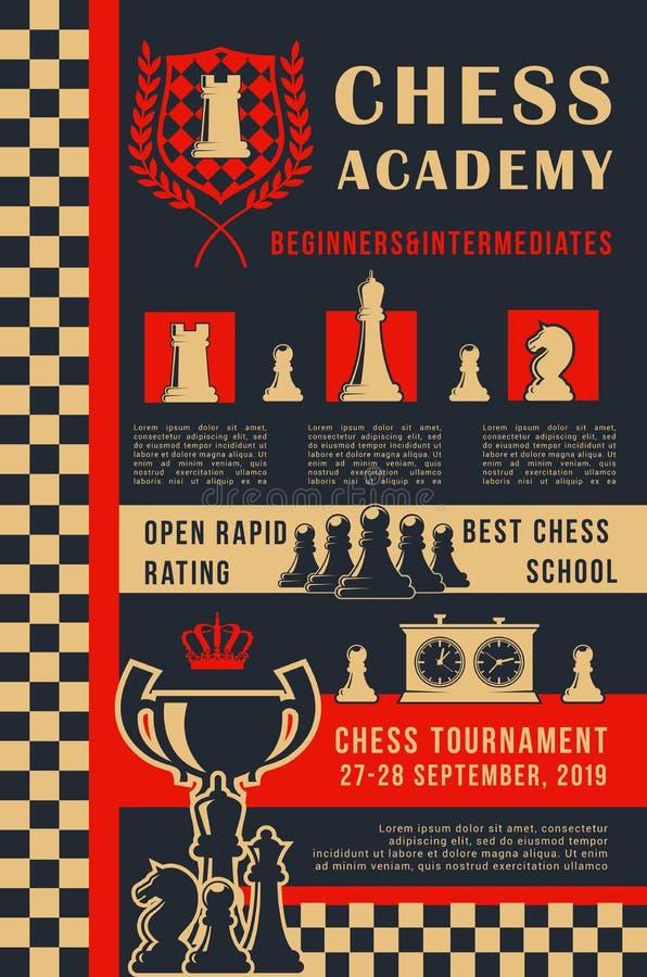 Affiche ouverte de vecteur de tournoi de jeu d'académie d'échecs illustration de vecteur