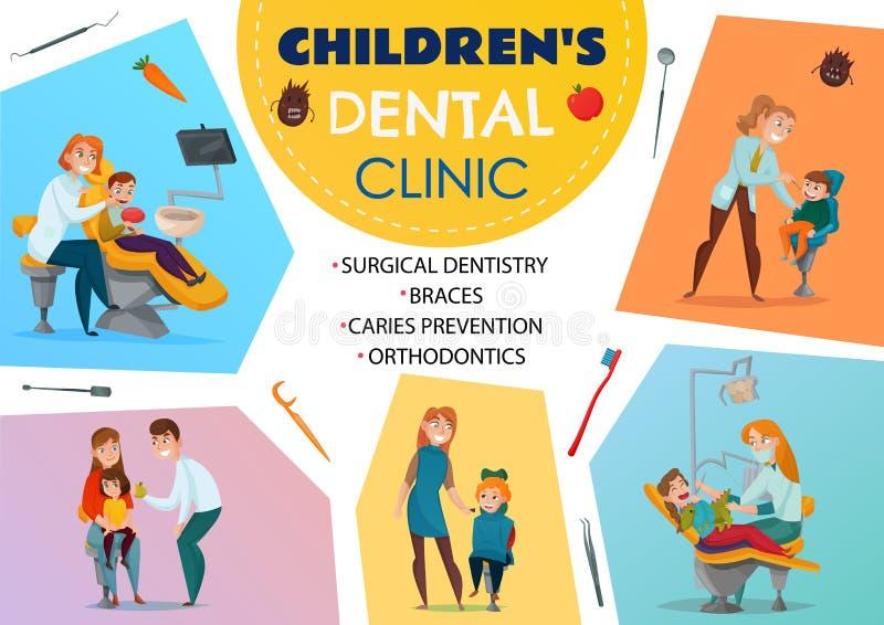 Affiche pédiatrique d'art dentaire illustration libre de droits
