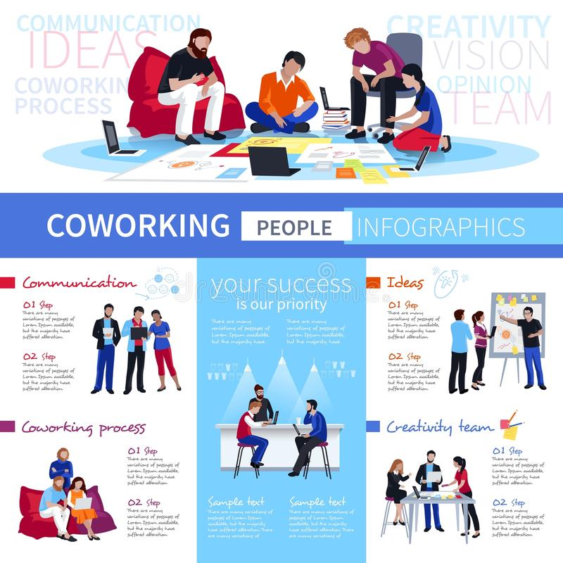 Affiche plate d'Infographic de personnes de Coworking illustration libre de droits