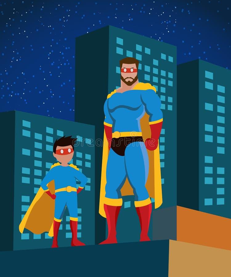 Affiche plate de famille de super héros illustration de vecteur