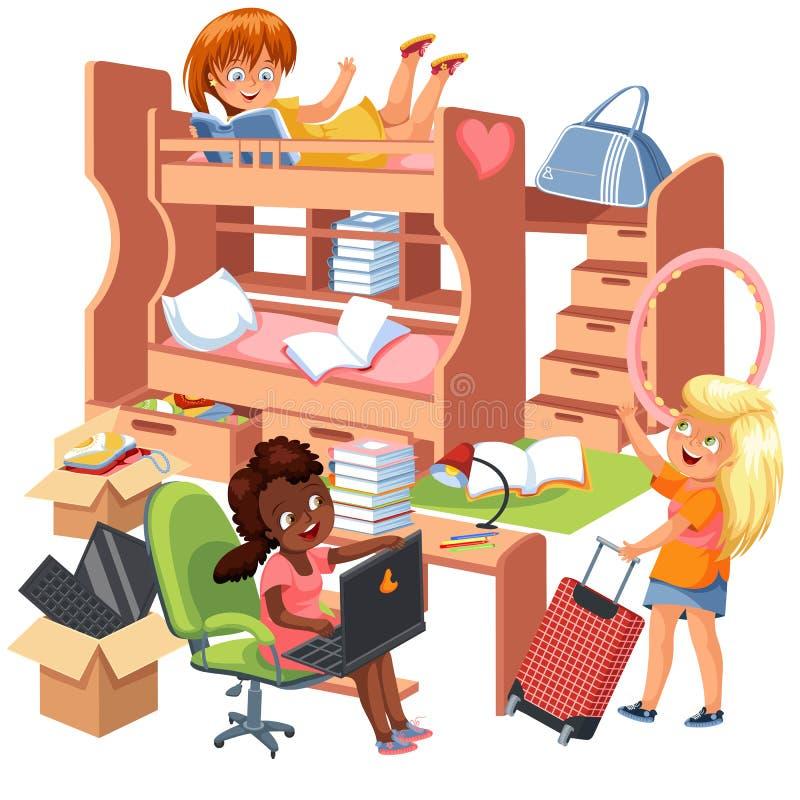 Affiche plate de pièce de dortoir de filles Conception intérieure de dortoir avec l'espace de travail pour des livres de papeteri illustration stock