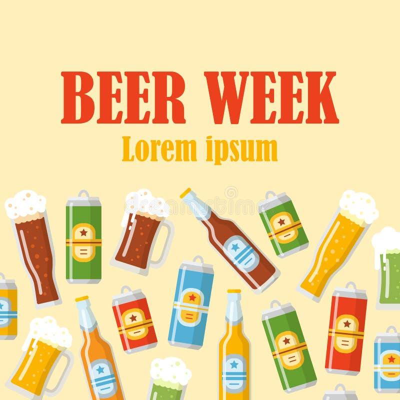 Affiche plate de semaine de bière illustration libre de droits