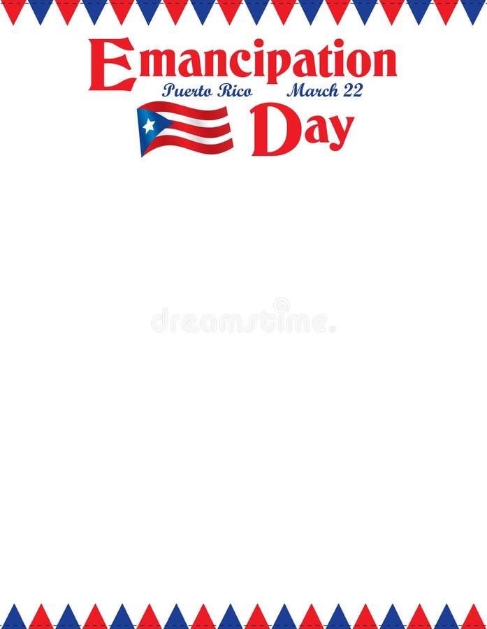 Affiche portoricaine de jour d'émancipation avec le drapeau photo libre de droits