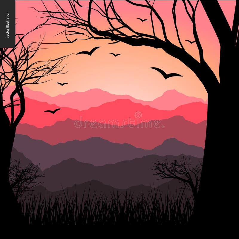 Download Affiche posée de paysage illustration de vecteur. Illustration du contemporain - 77158777