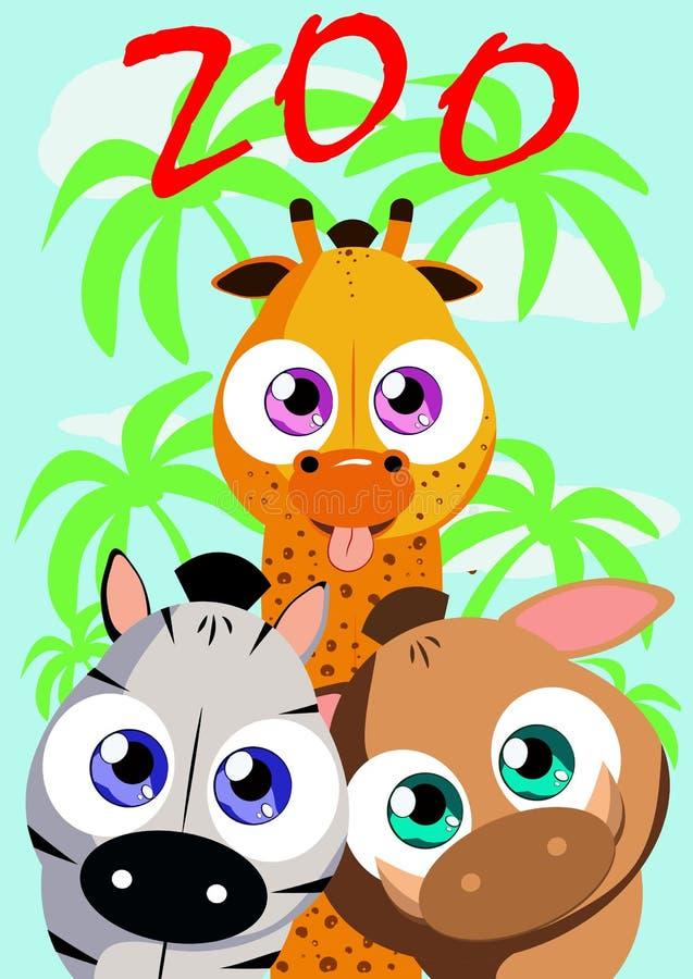 Affiche pour l'événement de zoo Il peut être employé comme enseigne, bannière, rondin illustration de vecteur