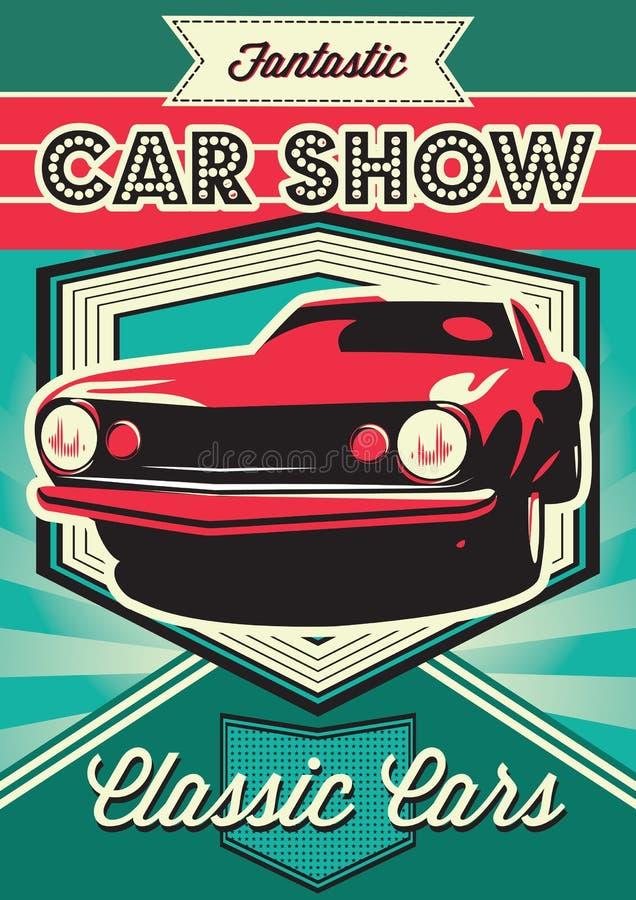 Affiche pour l'exposition des voitures illustration de vecteur