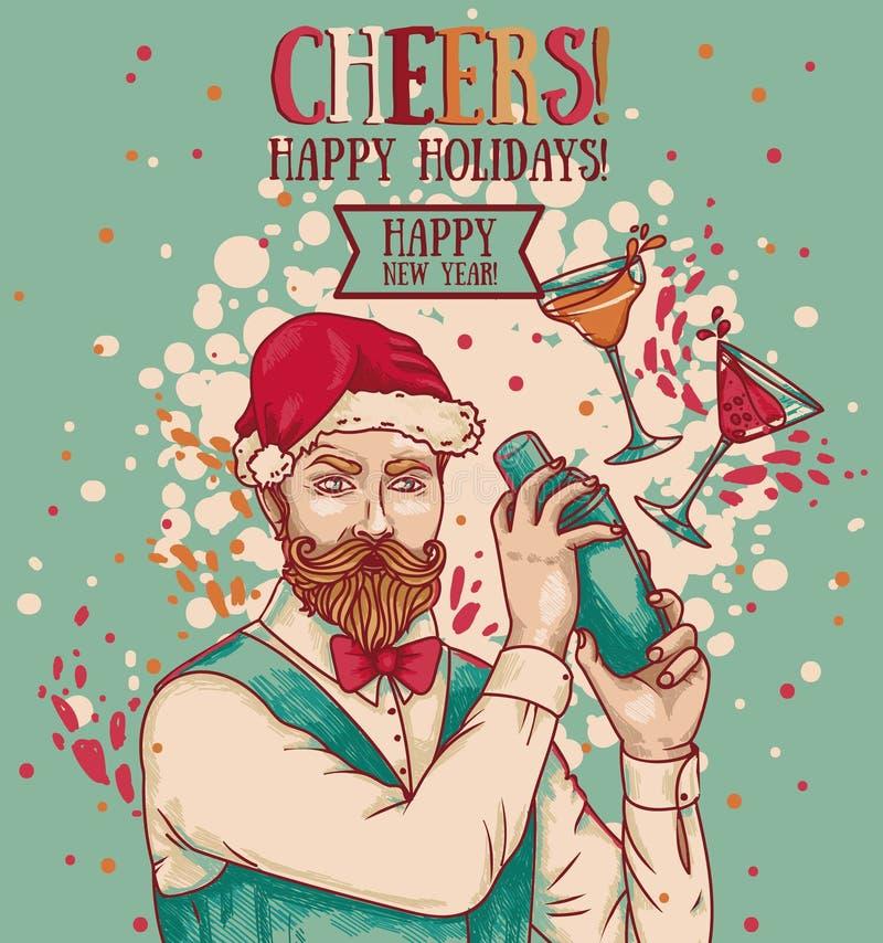 Affiche pour la partie de Noël ou de nouvelle année avec le barman attirant en chapeau et cocktails de Santa illustration libre de droits