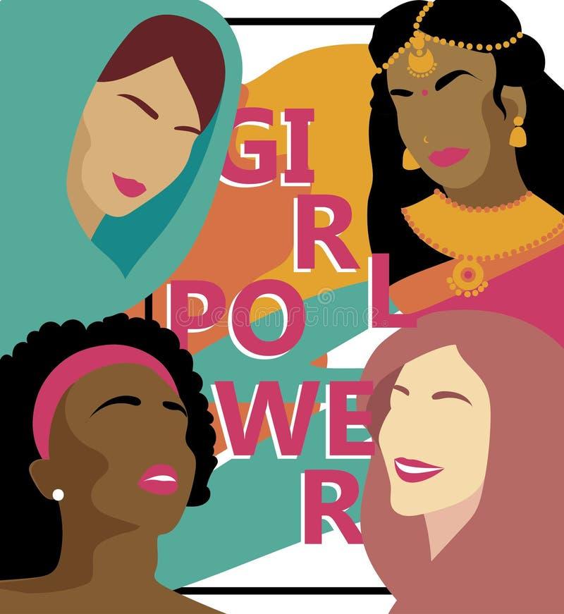 Affiche pour la puissance de fille avec différentes nations de femmes illustration libre de droits