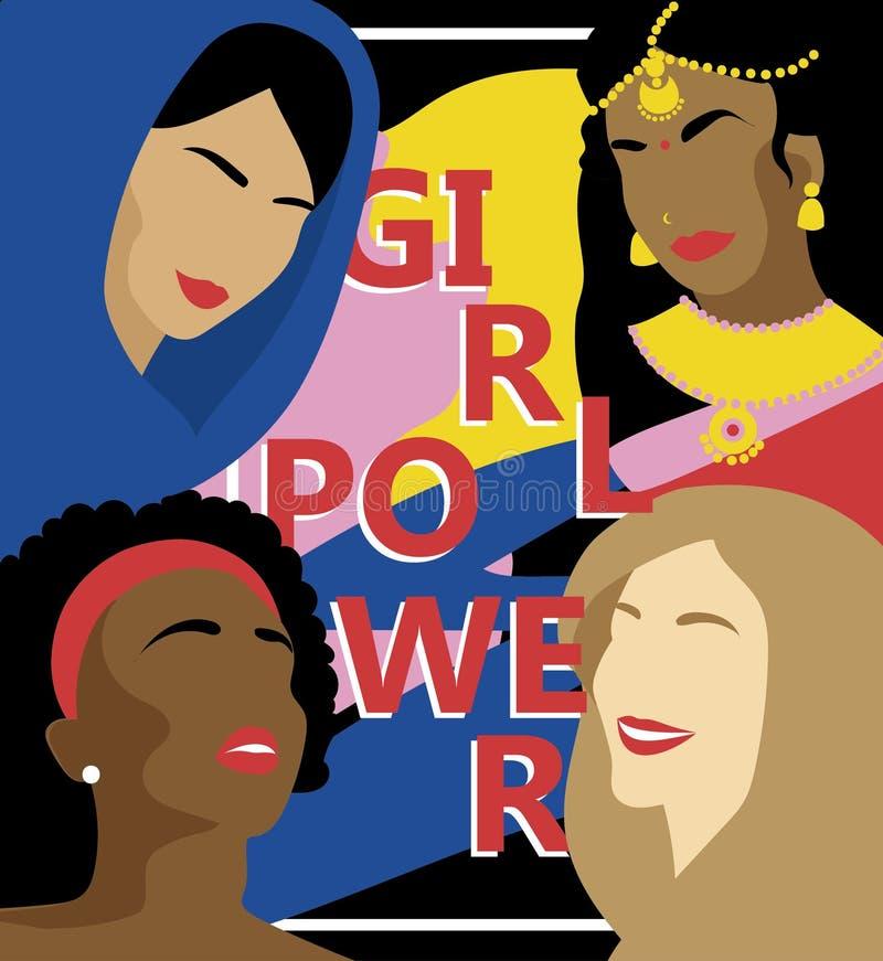 Affiche pour la puissance de fille avec différentes nations de femmes illustration stock