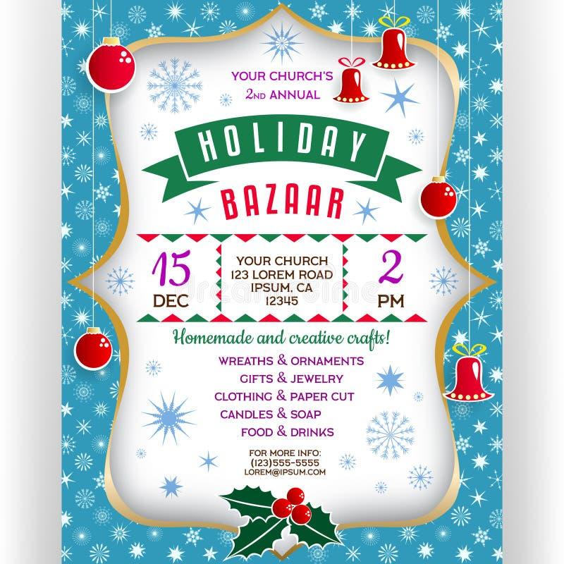Affiche pour le bazar de vacances d'hiver illustration stock