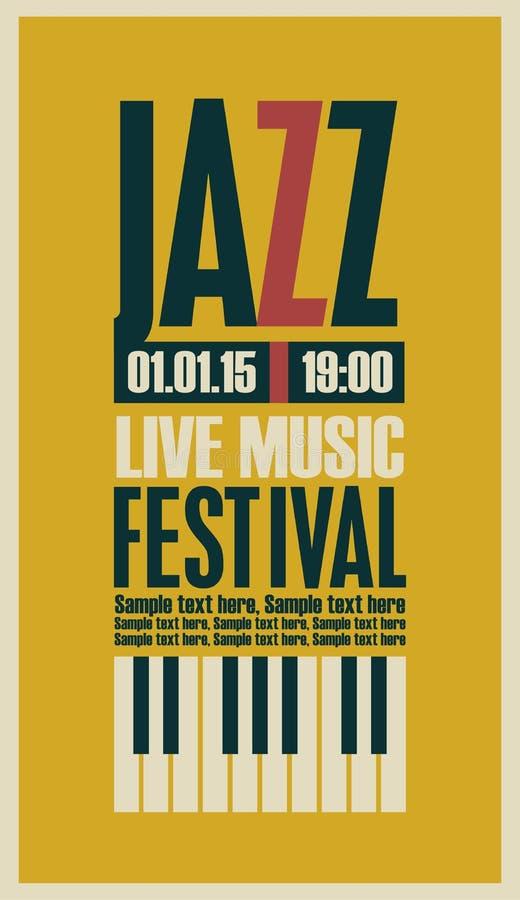 Affiche pour le festival de jazz illustration libre de droits