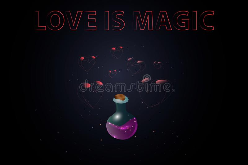 Affiche pour le jour de valentine et du 14 février de saint Bouteille magique avec la partie d'amour sur un fond foncé avec le sc image libre de droits