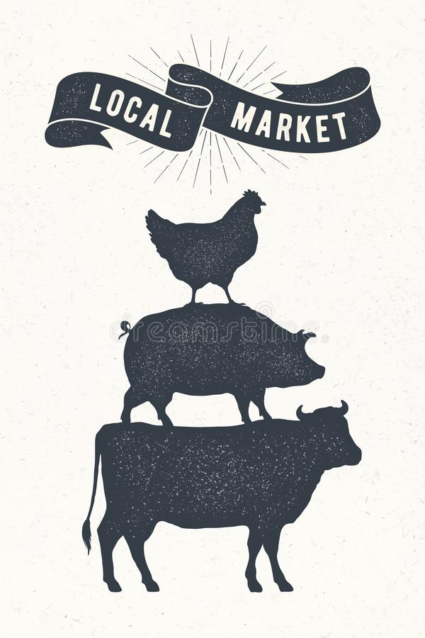 Affiche pour le marché local Vache, porc, support de poule sur l'un l'autre illustration stock