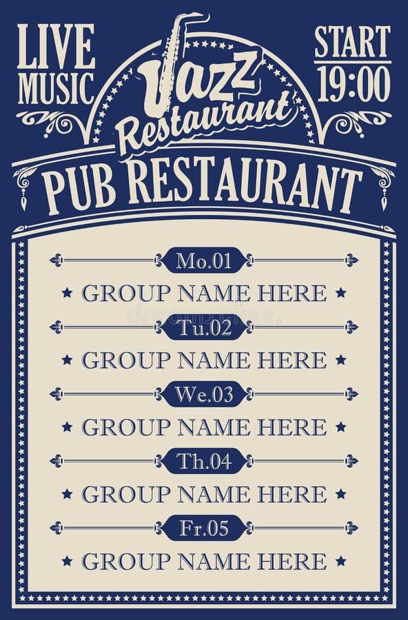 Affiche pour un restaurant de bar avec la musique de jazz vivante illustration de vecteur