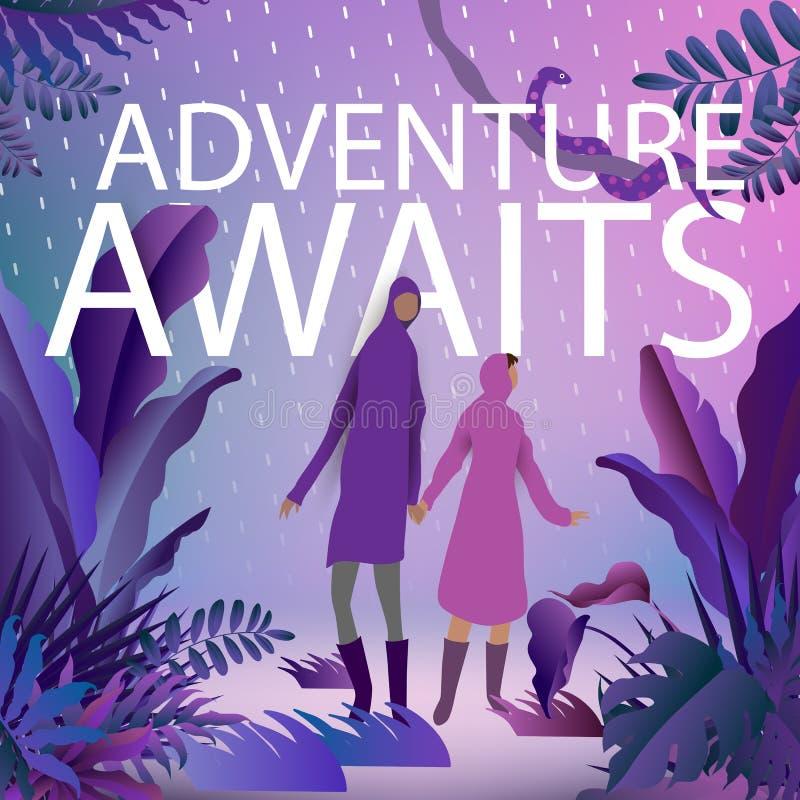 Affiche pourpre d'envie de voyager que l'aventure attend avec des couples dedans illustration libre de droits