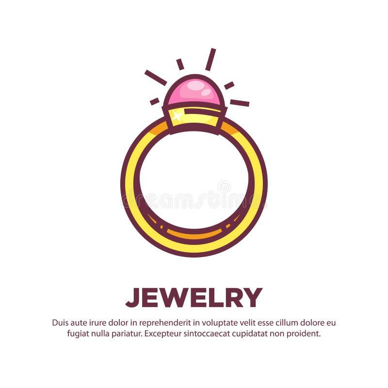 Affiche promotionnelle de bijoux avec l'anneau d'or cher élégant illustration libre de droits