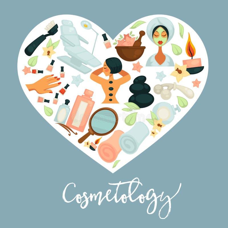Affiche promotionnelle de cosmétologie avec l'équipement pour des procédures de beauté à l'intérieur de coeur illustration de vecteur