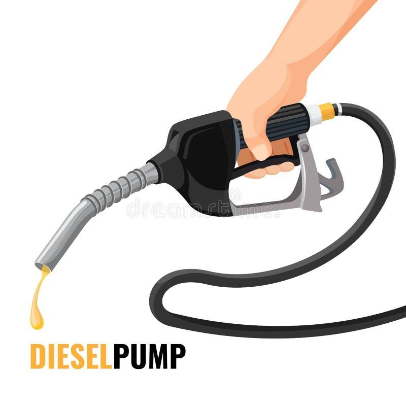 Affiche promotionnelle de pompe diesel avec le gicleur d'essence dans la main humaine illustration stock