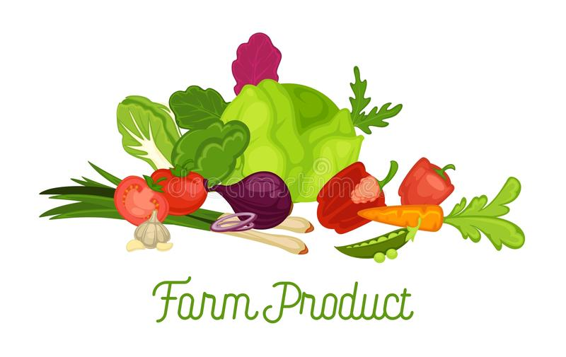 Affiche promotionnelle de produit de la ferme avec la récolte fraîche des légumes illustration de vecteur
