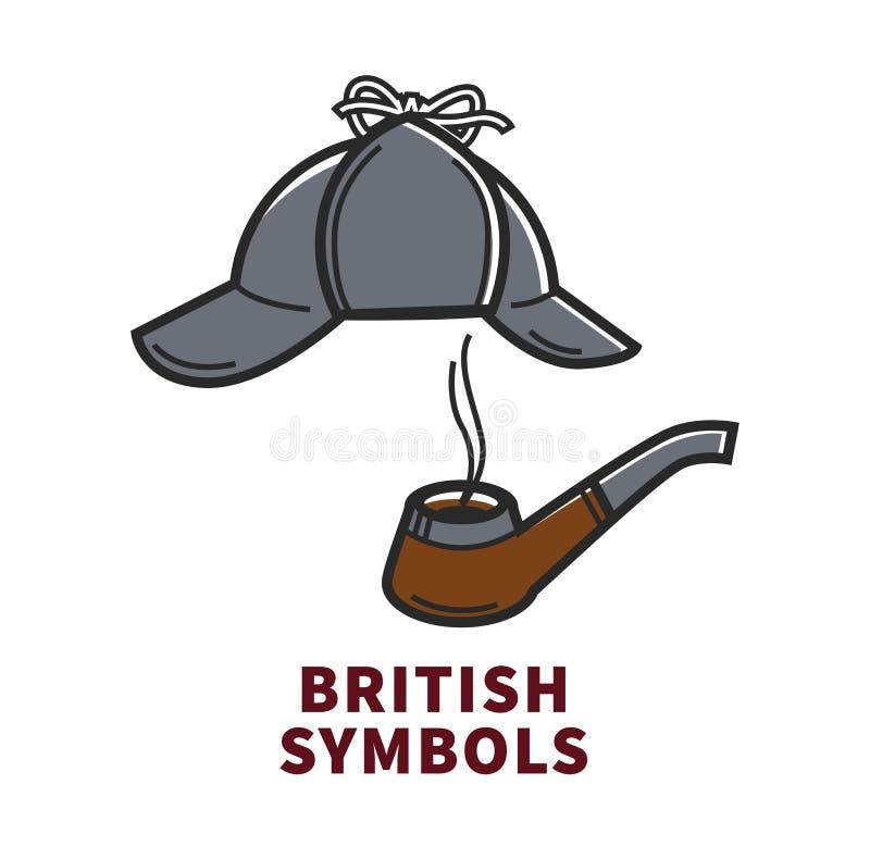 Affiche promotionnelle de symboles britanniques avec des accessoires de Sherlock Holmes illustration libre de droits