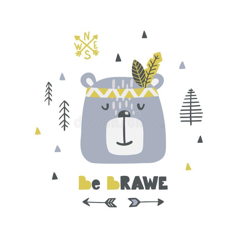 Affiche puérile avec le lettrage mignon ours-indien et de chatte illustration libre de droits