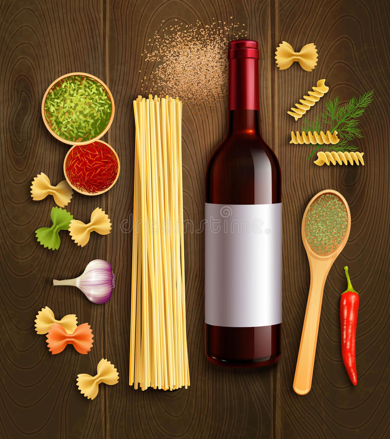 Affiche réaliste de composition en vin sec de pâtes illustration libre de droits
