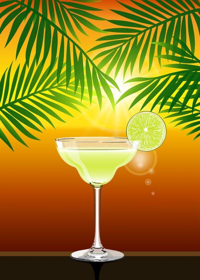 Affiche réaliste de coucher du soleil d'été de vecteur avec le cocktail de margarita illustration de vecteur